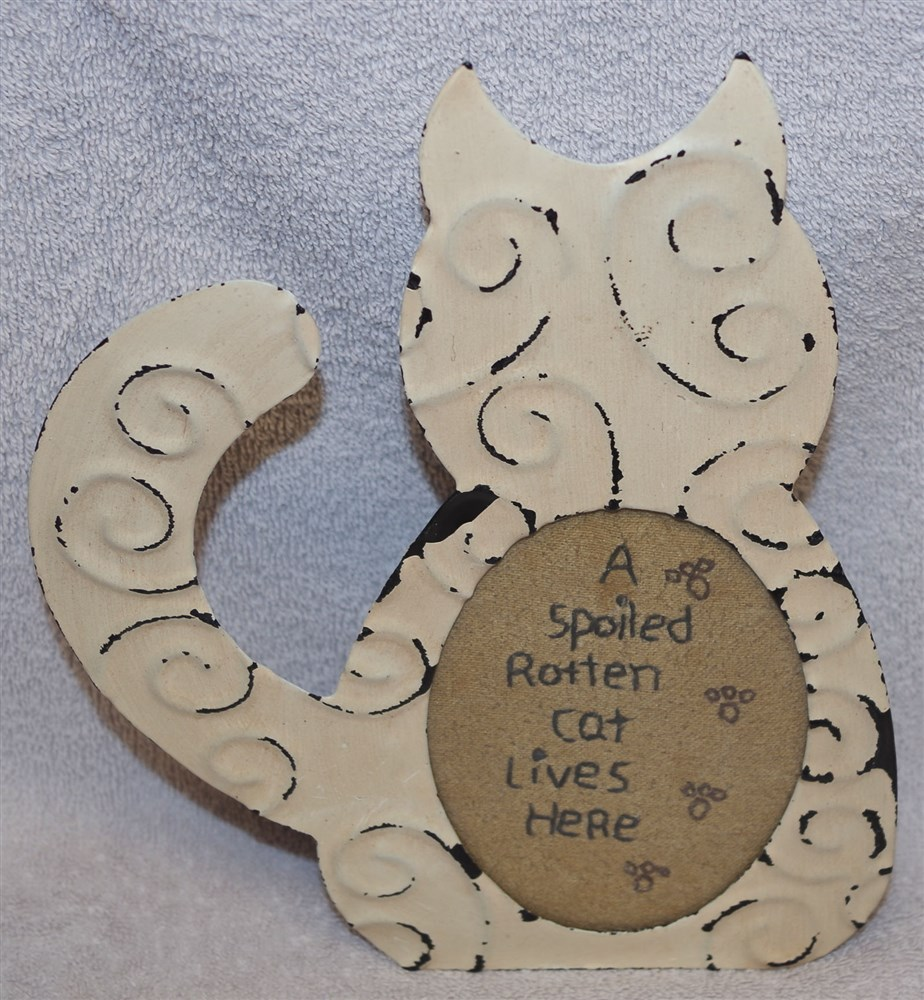 Details About Metal Cat Frame Sampler A Spoiled Rotten Cat Lives Here Or Your Own Photo